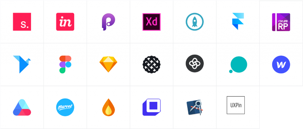 Grid of design tools logos. Invision Figma. Protopie and more