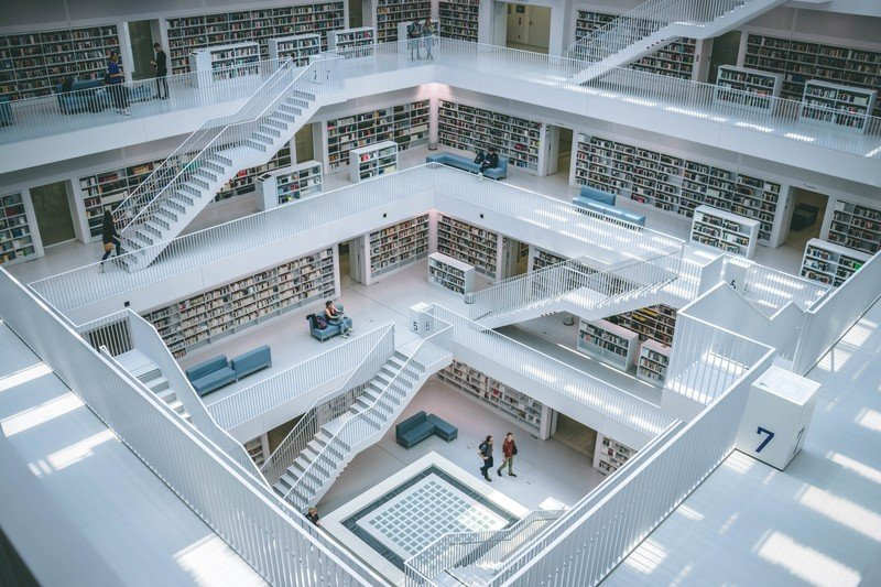 image of a massive library symbolic for Leaistic library for ElasticSearch