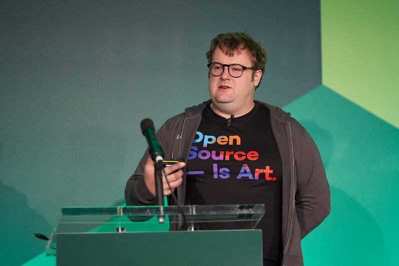 Cian' O Maidin on stage during NodeConf EU 2019