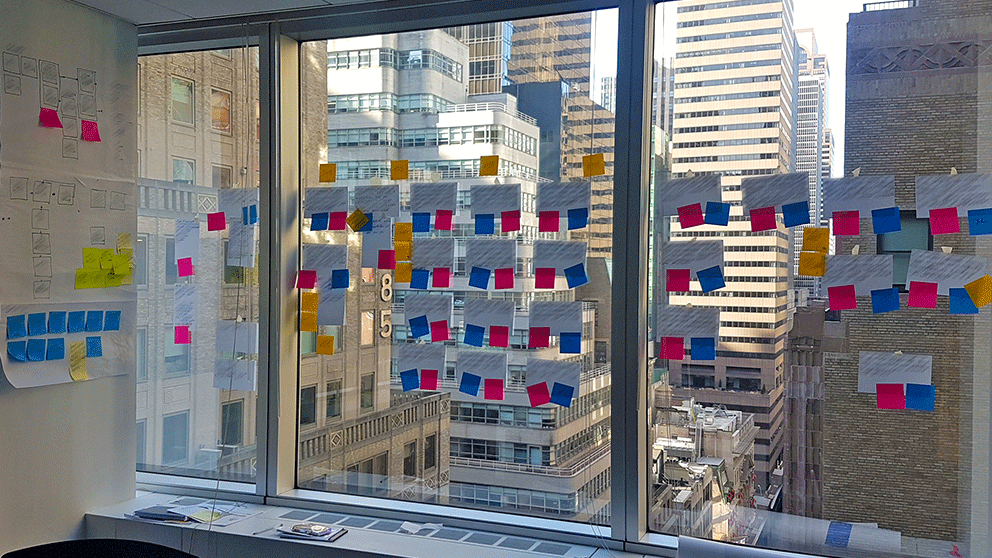 Wall of user stories in New York workshop