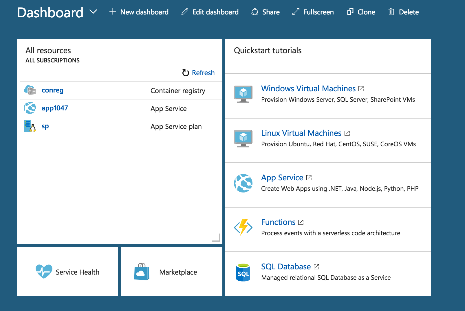 Screenshot of Azure dashboard