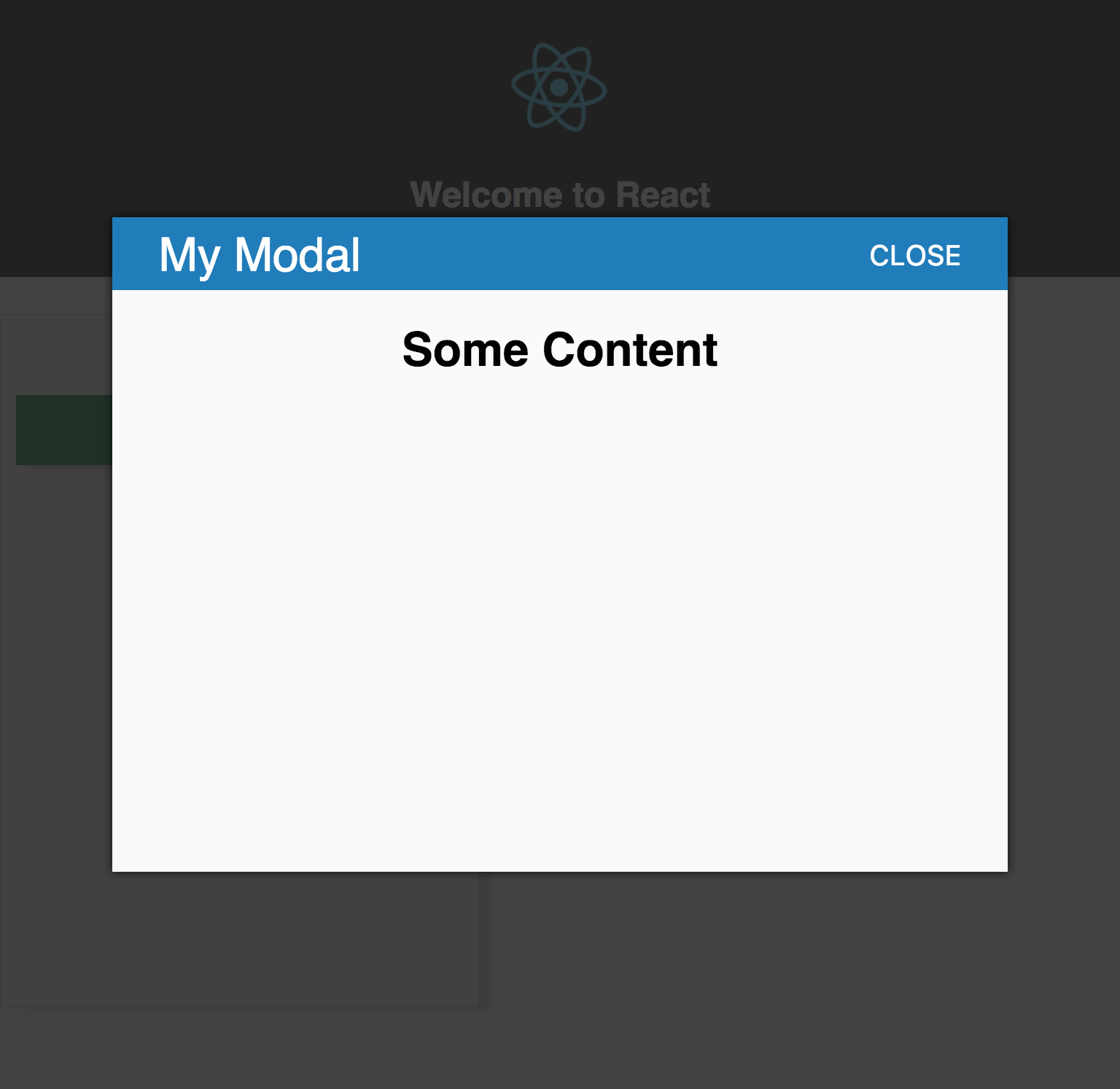 Modal displayed in browser