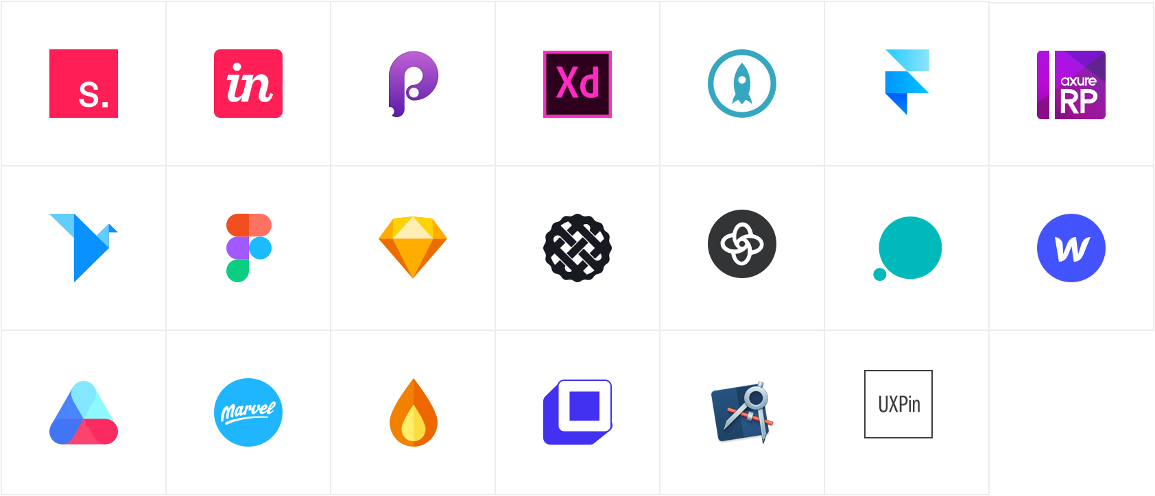 Table of all the application logos, including Invision studio, Adobe XD, Framer and more.